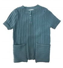 Ribbed Knit S/S Sweater Blue 4
