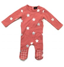 Stars Stretchie Coral/Silver 1