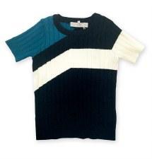 Colorblock S/S Sweater Aqua/Bl