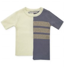 Ribbed Stripd S/S Sweater Slat