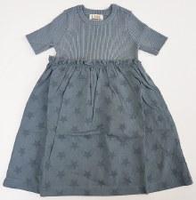 Ribbed Knit Dress W/ Stars Blu