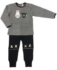 Bear & Bunny PJ Grey/Black 24M