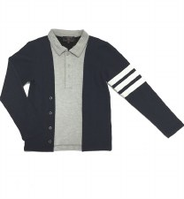 Polo W/ Striped Sleeve Blue/Gr