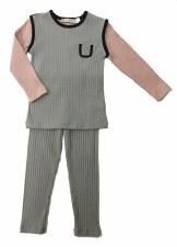Ribbed Colorblock PJ Pink/Grey