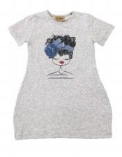 Girl Print Dress Grey 3 X