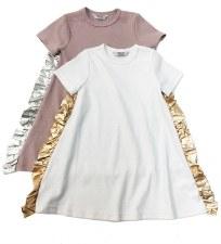 Dress w/ Metallic Ruffle Pink/