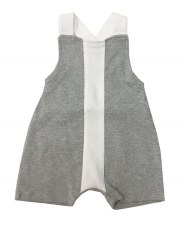 Baby Overall W/ Stripe Grey/Wh