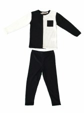 2tone Ribbed PJ  Black/White 1