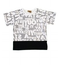 Alphabet S/S Tee Grey/White 2