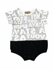 Alphabet Onesie Grey/White 9M