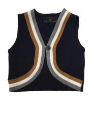 Bolero Vest W/ Stripe Navy 12M
