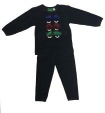 Velour PJ W/ Fur Black 14