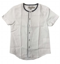 S/S Shirt W/ Trim White/Grey 2
