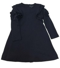 Dress W/ Floral Ruffle Navy 7