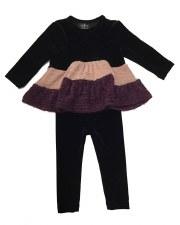 Velour Set W/ Knit Panels Blac
