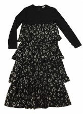 Tierred Printed Robe Black/Sil