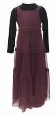 Tiered Mesh Robe Black/Burgund
