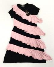 Robe W/ Ruffles Black/Pink 18