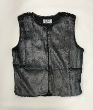 Cracked Fur Vest Charcoal 5