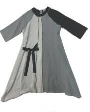 2tone Dress W/ Tie Grey 16