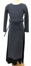 Ribbed Robe W/ Velour Blue 16