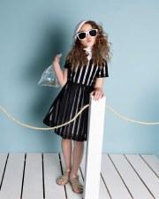 Dress w/ Mesh Stripes Black 4