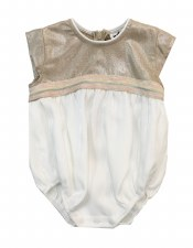 Metallic Romper W/ Trim Gold/W
