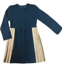 Dress W/ Gold Pleats Teal 8