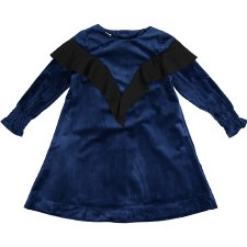 Velvet Ruffle Dress Blue/Black