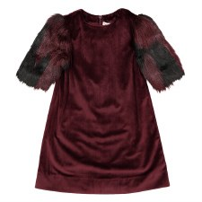 Dress w/ Fur Sleeves Merlot 10