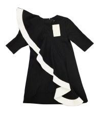 Dress W/ Ruffle Black/White 6
