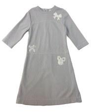 Dress W/ Bow Appliques Grey 16