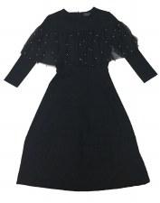 Teen Dress W/ Mesh Ruffle Blac