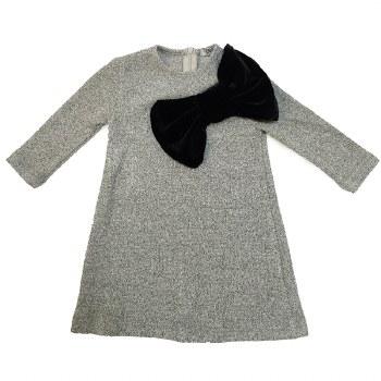 Dress W/ Velvet Bow Grey/Black