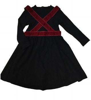 Dress W/ Velvet Suspenders Bla