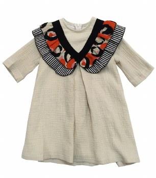 Contrast Ruffle Dress Beige 7