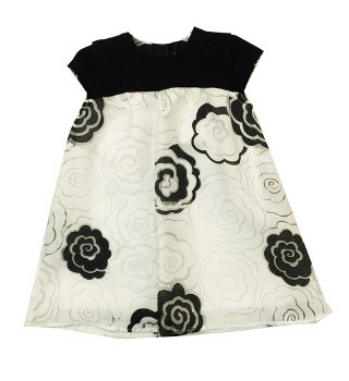 Dress W/ Lace Roses Black/Whit