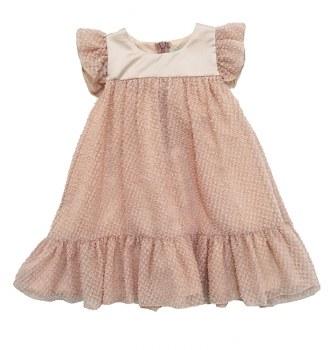 Textured Mesh Dress Blush 8