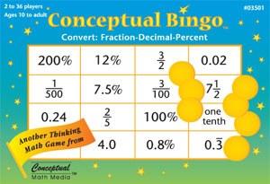 Conceptual Bingo:Frac/Dec/Perc