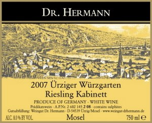 Dr Hermann Riesling Urziger Wurzgarten Kabinett 2012