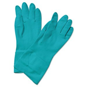 Flock-Lined Green Nitrile Gloves Small