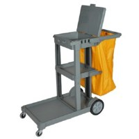 Maids Cart Gray w/Vinyl Bag CO