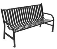 Slatted Metal 5' Bench Black
