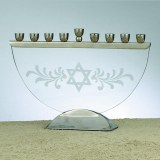 ETCHED GLASS MENORAH, W/NICKEL