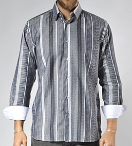 Luchiano Visconti Limited Edition Shades of Grey Long Sleeve Sport Shirt