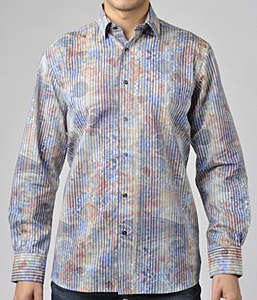 Luchiano Visconti Vertical Illusion Long Sleeve Sport Shirt