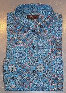 Jon Randall Aqua Multi Long Sleeve Sport Shirt