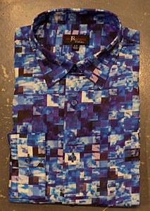 Jon Randall Blue Check Long Sleeve Sport Shirt