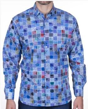 Luchiano Visconti Abstract Long Sleeve Sport Shirt