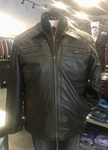 Big & Tall Black Lamb Skin Jacket